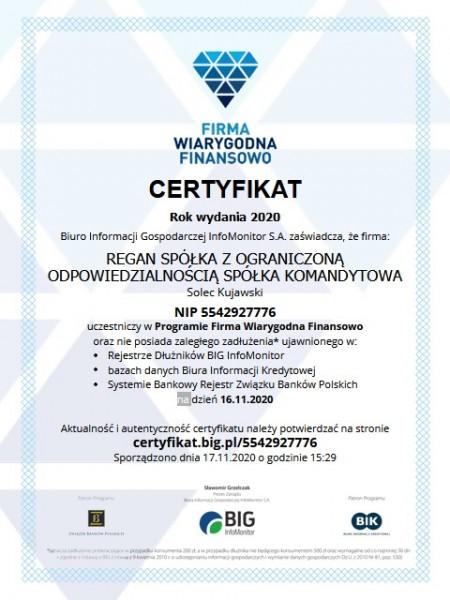 Certyfikat Firmy Wiarygodnej Finansowo - BIG InfoMonitor